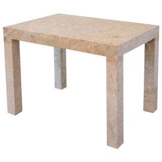 Marble Parsons Style Side Table For Sale