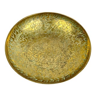 Vintage Etched Brass Small Catchall For Sale