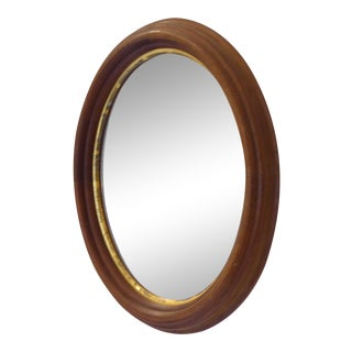 19th Century Oval Walnut Accent Mirror For Sale
