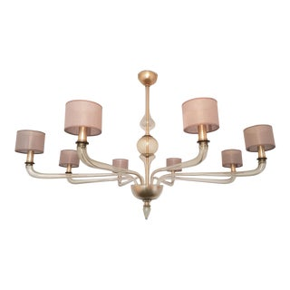 Extra Large Murano Clear Glass Chandelier, Mid Century Modern by Seguso, 1970s
