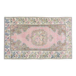 """Vintage Turkish Anatolian Hand Knotted Organic Wool Fine Weave Rug,5'x7'10"""" For Sale"""