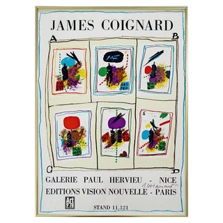 Mid-Century Modern Framed Art Poster Signed by James Coignard, 1978 For Sale
