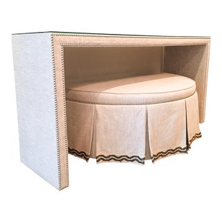 Custom Textured Natural Linen Covered Console Table & Demi-Lune Ottoman For Sale