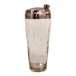 Vintage Glass Etched & Chrome Cocktail Shaker For Sale