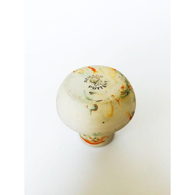 Vintage Nemadji Pottery Vase - Green and Orange Swirls - Image 5 of 5