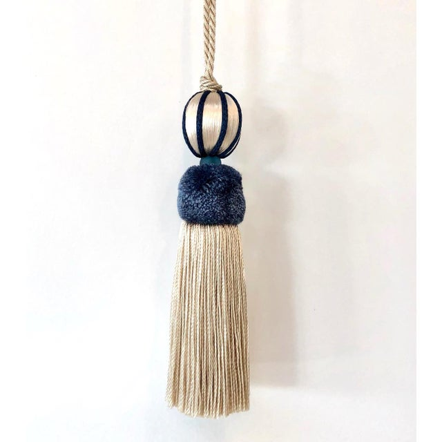 Marine Blue & Cream Beaded Key Tassel - H 4.5 - Inches For Sale In Charlotte - Image 6 of 8