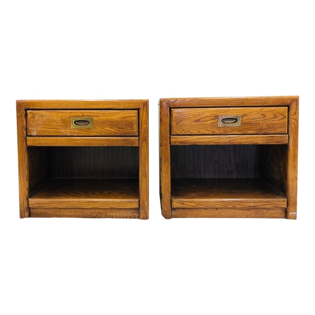 Pair Vintage Campaign Style Side Tables For Sale