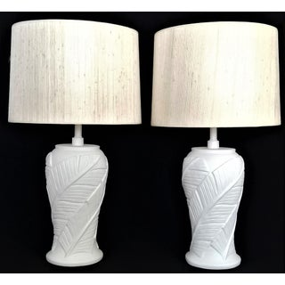 White Plaster Palm Banana Leaf Lamps in the Style of Serge Roche - a Pair - Palm Beach Boho Chic Hollywood Regency Mid Century Modern Tropical Coastal Preview