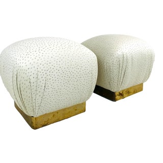 Karl Springer Style Poufs - A Pair For Sale