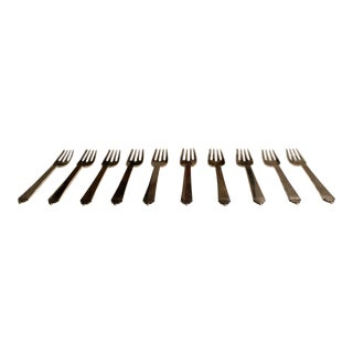 1940s Danish Art Nouveau Georg Jensen Sterling Silver Pyramid Salad Forks - Set of 10 For Sale