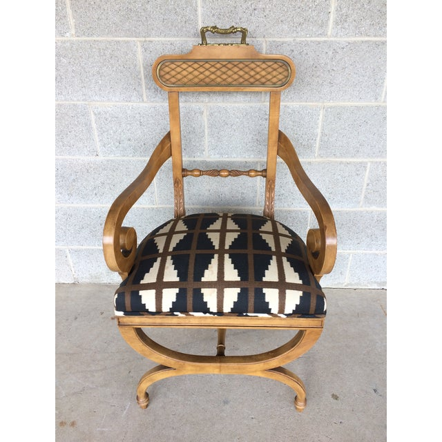 Hollywood Regency Baker Quality Regency Neoclassical Scroll Arm Accent Chair For Sale - Image 3 of 10
