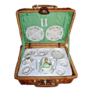 Child's Irish Shamrock Picnic Basket & Tea Service