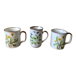 Vintage Japanese Botanical Mugs - Set of 3