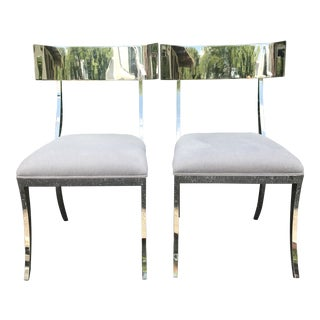 Bernhardt Gustav Klismo Chairs in Chrome and Gray Fabric - a Pair For Sale