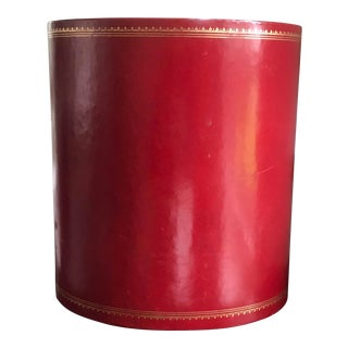 Vintage Red Leather Wastebasket, C.P. Leathercrafts, New York For Sale