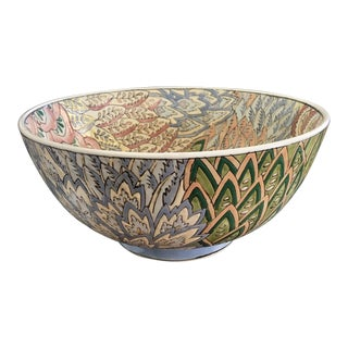 Vintage Chinese Floral Flame Stitch Enamel Ceramic Bowl For Sale