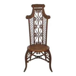1890's Antique Heywood Wakefield Wicker High Back Chair For Sale