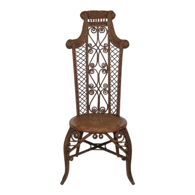 1890's Antique Heywood Wakefield Wicker High Back Chair - 1890's Antique Heywood Wakefield Wicker High Back Chair Chairish