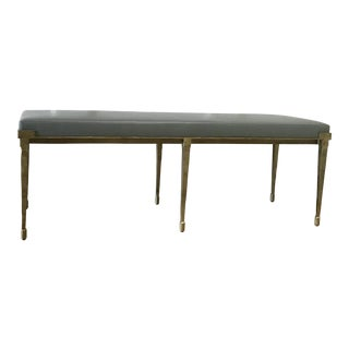 Contemporary Holly Hunt Custom Rue De Seine Gilded Iron Leather Bench