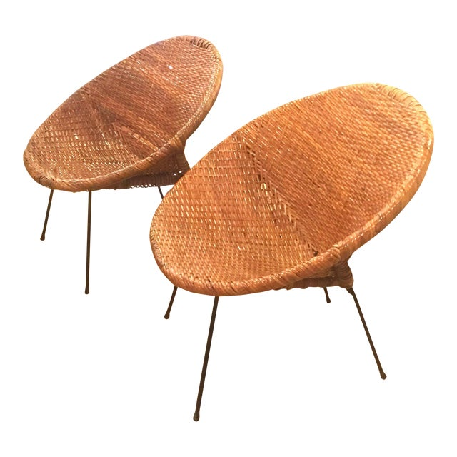Mid-Century Rattan Wicker Hoop Chairs - Pair For Sale