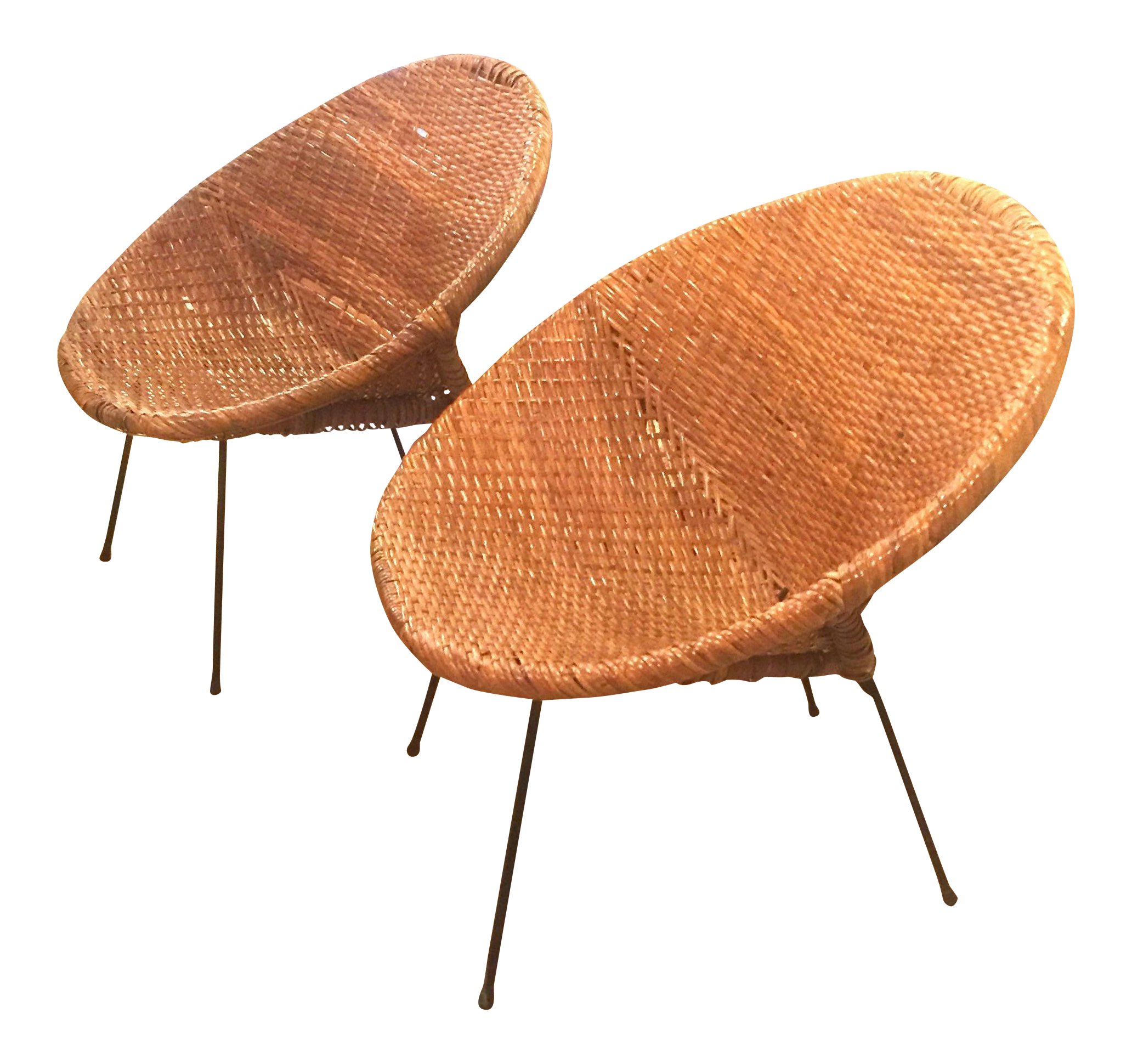 Exceptional Mid Century Rattan Wicker Hoop Chairs   Pair