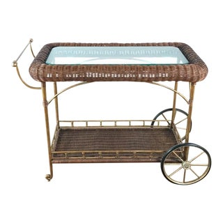 Vintage Wicker Wrapped Bar Cart