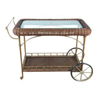 Vintage Wicker Wred Bar Cart