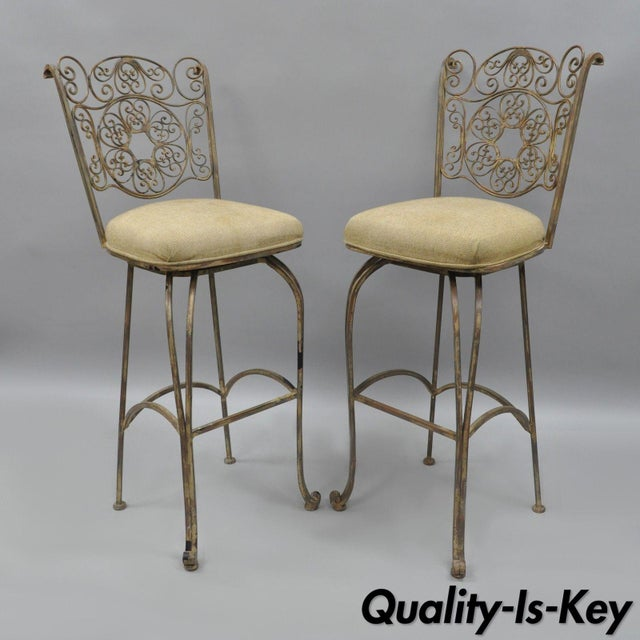 Wrought Iron Fancy Swivel Bar Stool Woodard Andalusian Scrolling Metal - A Pair For Sale - Image 12 of 13