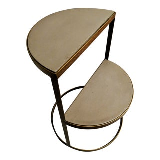 Gray Concrete Half Moon Tiered Side Table For Sale