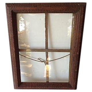 Antique Tramp Art Window Pane Frame For Sale
