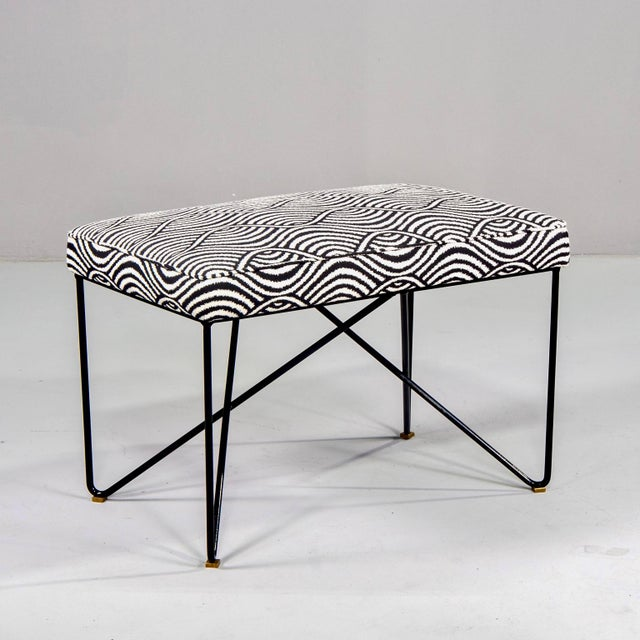 Italian Mid Century Style Bench With Black Iron Hairpin Legs For Sale - Image 11 of 11