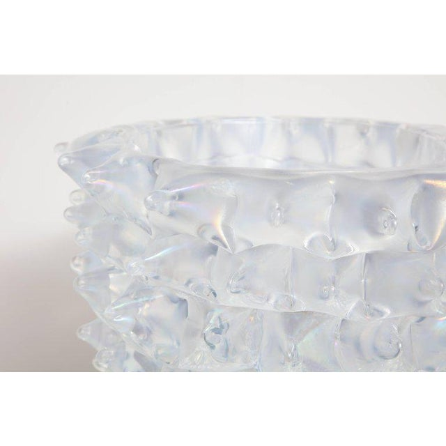 Enormous Signed Sinoretto Murano Iridescent Clear Glass Spiked Vase For Sale - Image 4 of 10