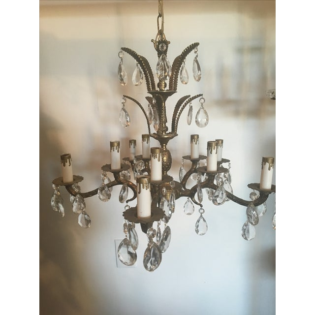 Vintage Brass 10 Light Pineapple Chandelier - Image 2 of 7