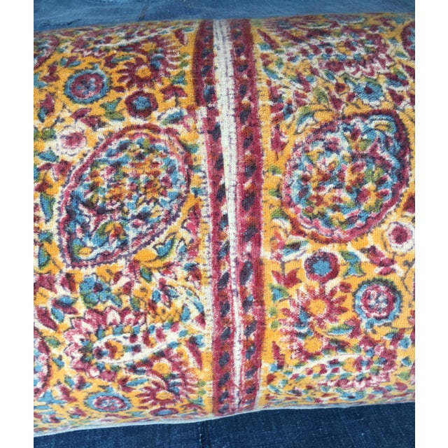 Boho Chic 1970's Indian Hand-Blocked Textile Pillow For Sale - Image 3 of 7