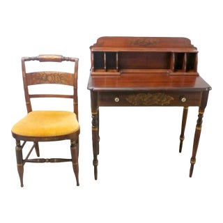 Arts and Crafts Hitchcock Writing Desk and Chair - 2 Pieces For Sale
