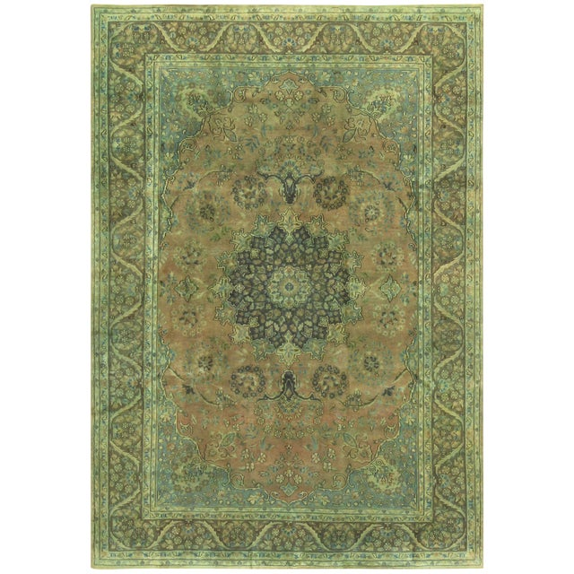 Over Dyed Color Reform Shakita Lt. Brown/Lt. Green Wool Rug - 7'9 X 11'4 For Sale