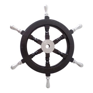 Vintage Nautical Handcrafted Black Wooden Ship Wheel With Aluminium Hub & Handle For Sale