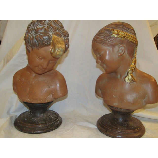 Paolo Marioni Italian Terracotta Child Statue Busts - A Pair For Sale - Image 4 of 5