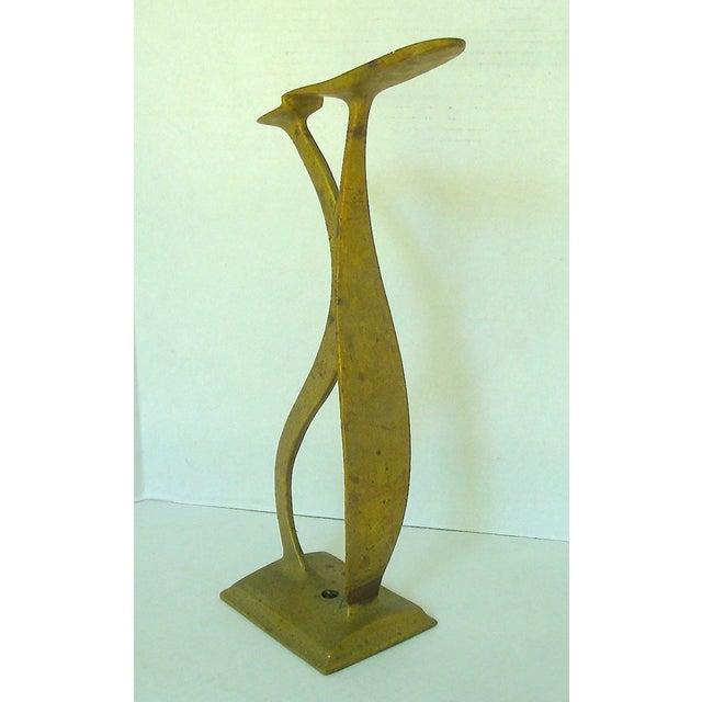 Vintage Sculptural Brass Cobbler's Shoeshine Stand For Sale - Image 4 of 5