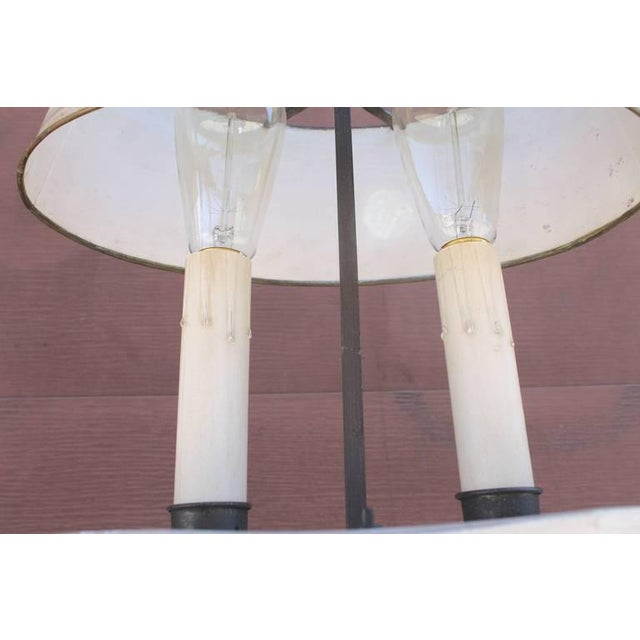 Amazing White Painted Floor Lamp with Tole Painted Tin Shade For Sale - Image 4 of 10
