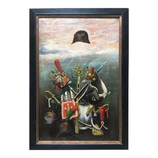 French Empire Napoleonic Military Oil on Canvas Painting, Framed For Sale