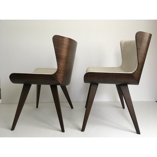 Mid-Century Style Wood Wrapped Accent Chairs- a Pair For Sale - Image 4 of 13