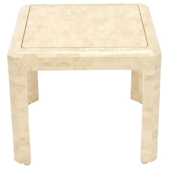 Tesselated Stone Brass Inlay Square Side End Table For Sale