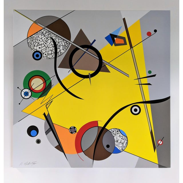 "Atsuko Okamoto Abstract Serigraph on Canvas ""Movement Yellow"" A. P. Signed For Sale In Miami - Image 6 of 6"