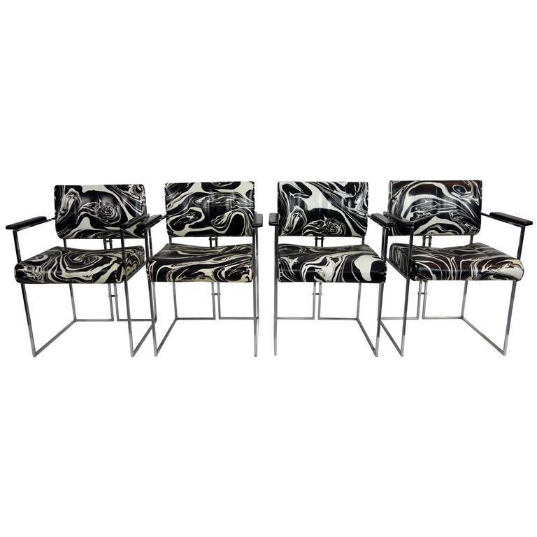 Vintage Black \u0026 White Marbled Vinyl Chairs by Samton - Set of 4  sc 1 st  Chairish & Vintage Black \u0026 White Marbled Vinyl Chairs by Samton - Set of 4 ...
