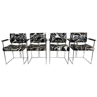 Vintage Black & White Marbled Vinyl Chairs by Samton - Set of 4 For Sale