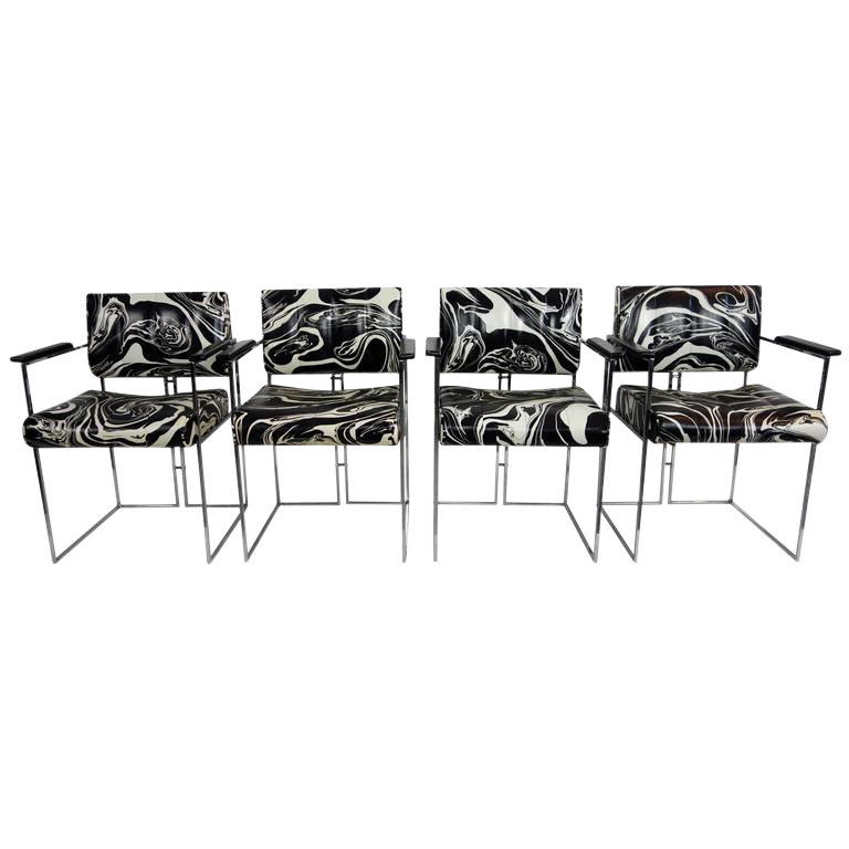 Vintage Black u0026 White Marbled Vinyl Chairs by Samton - Set of 4  sc 1 st  Chairish & Vintage Black u0026 White Marbled Vinyl Chairs by Samton - Set of 4 ...
