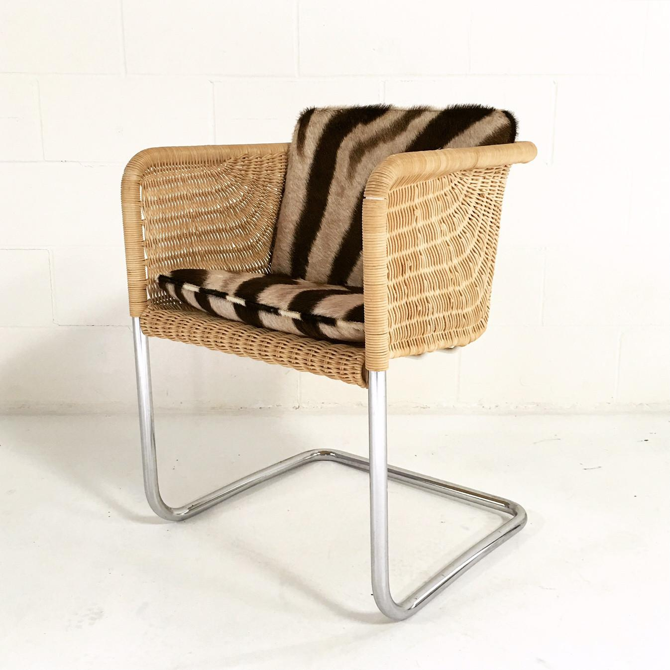 Forsyth One Of A Kind Harvey Probber Wicker And Chrome Chair With Zebra  Cushion   Image