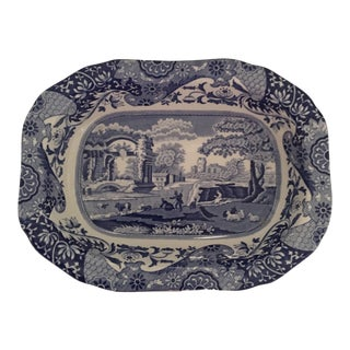 "Spode 9"" Oval Vegetable Bowl Blue Italian (Camilla, Newer) (1) For Sale"