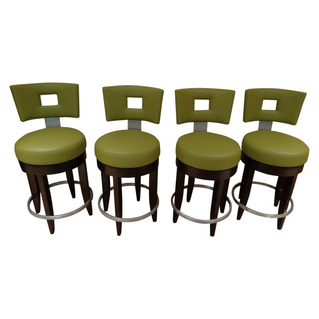 David Edward Barstools With Faux Leather Seats - 4 - Image 1 of 8